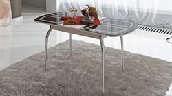Стол обеденный раздвижной со стеклом с рисунком «Милан» СМ-203.01.13 Дуб Белфорт - фото 6781
