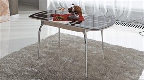 Стол обеденный раздвижной со стеклом с рисунком «Милан» СМ-203.01.13 Дуб Белфорт