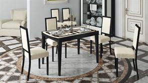Обеденный раздвижной стол со стеклом «Танго Т2» С-362 с рисунком